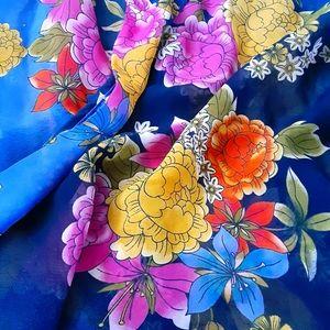 High Color Sheer Floral Mid Length Kimono
